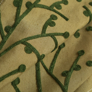 Trees of the Four Seasons Yellow Olive Green Curtain 3