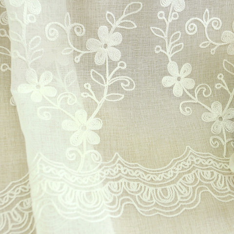 Touch Of Grace Embroidered White Flower Voile Curtain 4