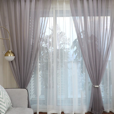 Sheer Curtain Luxe Light Grey Sheer Voile Curtain 2