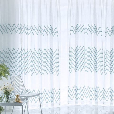 Sheer Curtain Wave Some Magic Blue Wave Geometric Voile Curtain 2