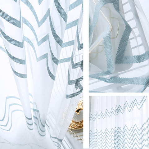 Sheer Curtain Wave Some Magic Blue Wave Geometric Voile Curtain 4