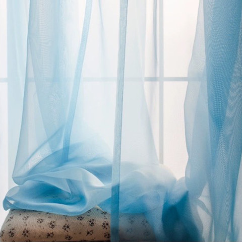 Smarties Baby Blue Soft Sheer Voile Curtain 1