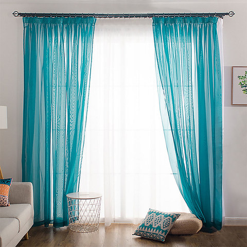 Sheer Curtain Smarties Teal Soft Sheer Voile Curtain 1