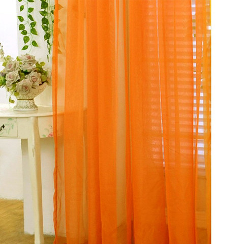 Smarties Orange Soft Sheer Voile, Sheer Orange Curtains