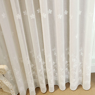 Lined Voile Curtain Touch Of Grace White Embroidered Sheer Curtain 3