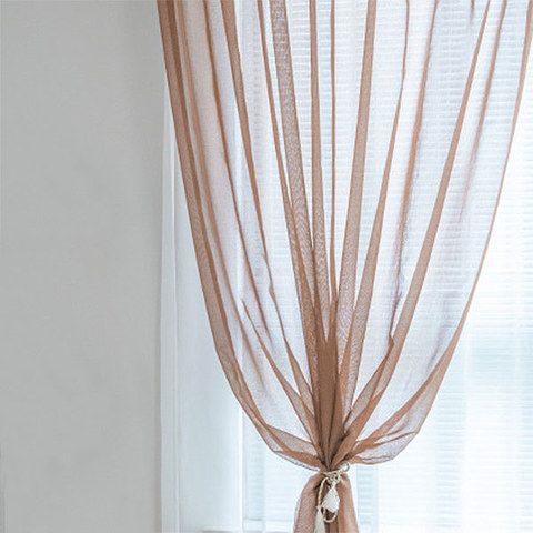 Luxe Coffee Sheer Voile Curtain 1