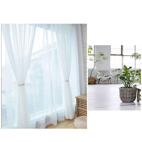 Sheer Curtain Scandinavian white soft cotton Voile Curtain 4
