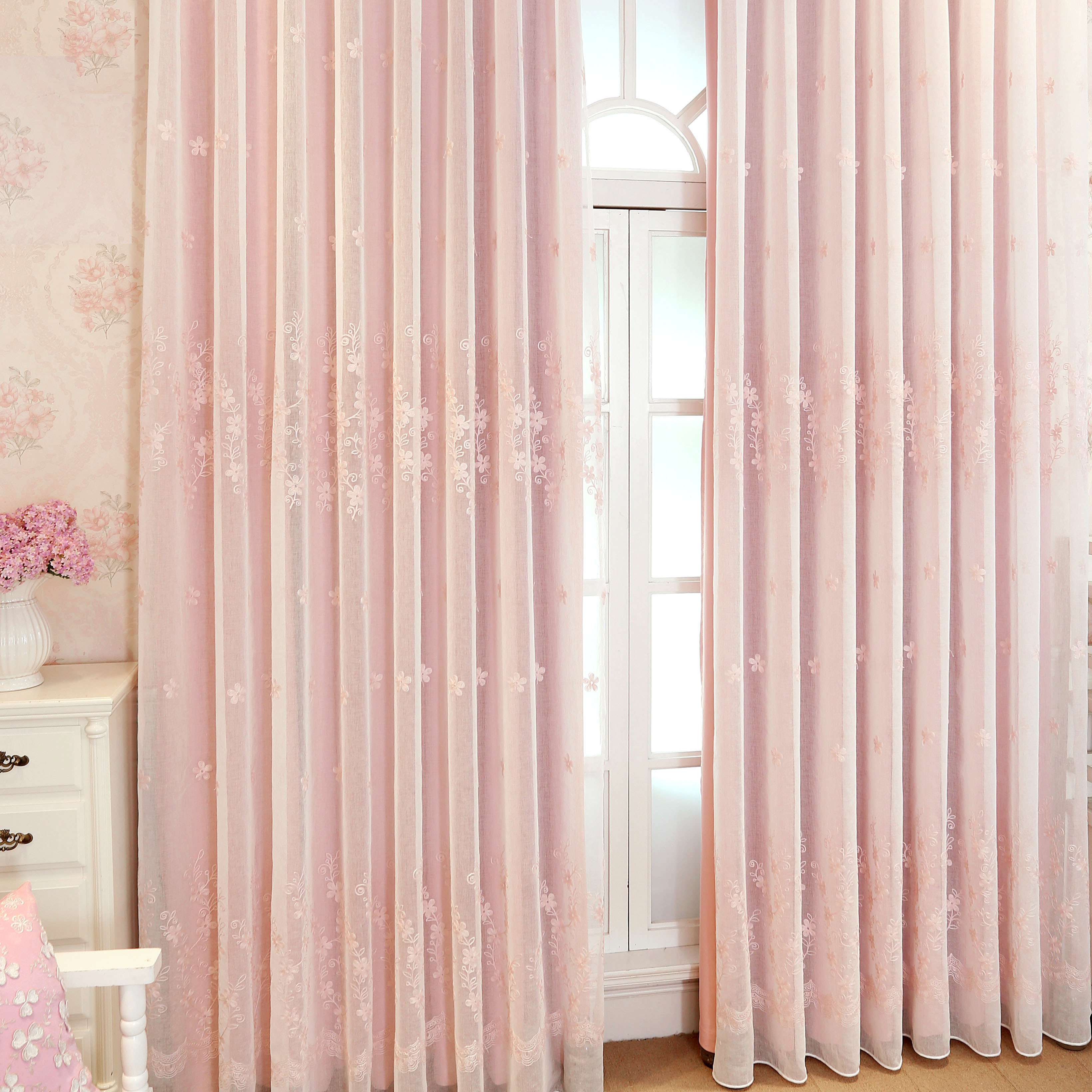 pink lined voile curtain