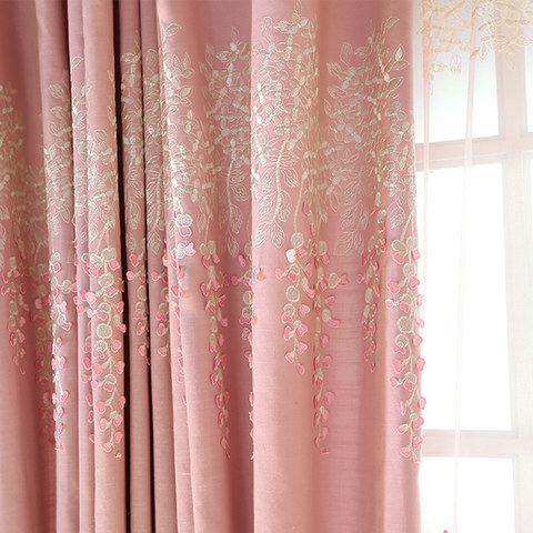Sweet Heart Pink Embroidered Curtain 2