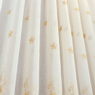 Touch Of Grace Cream Lined Voile Curtain With Beige Embroidered Flowers 2