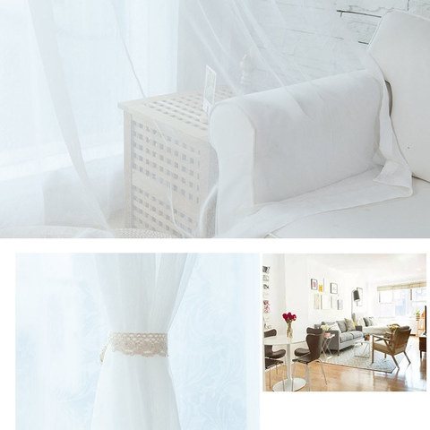 Sheer Curtain Scandinavian white soft cotton Voile Curtain 5