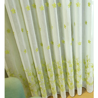 Touch Of Grace Green Lined Voile Curtain With Embroidered Flowers 4