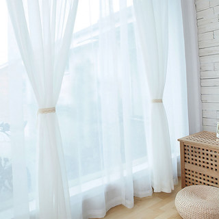 Sheer Curtain Scandinavian white soft cotton Voile Curtain 2