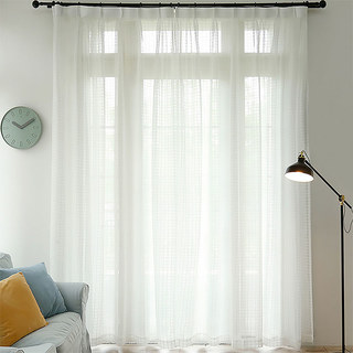 In Grid Windowpane Check White Sheer Voile Curtain 5