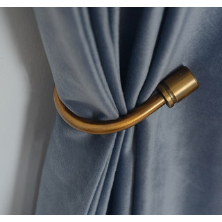 Fine Cadet Blue Velvet Curtain 4