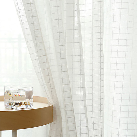 In Grid Windowpane Check White Sheer Voile Curtain 1