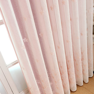 Touch Of Grace Pink Lined Voile Curtain With Embroidered Flowers 5