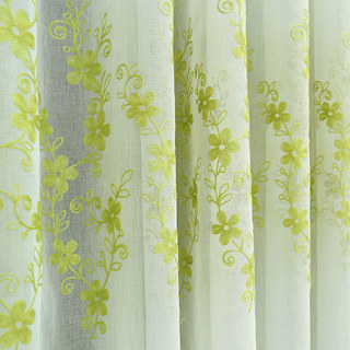 Touch Of Grace Green Lined Voile Curtain With Embroidered Flowers 3