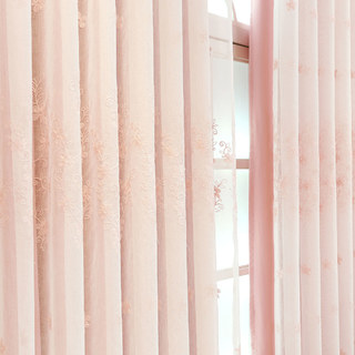 Touch Of Grace Pink Lined Voile Curtain With Embroidered Flowers 2