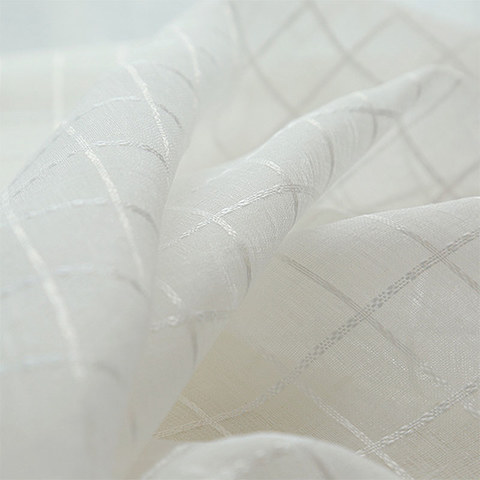 In Grid Windowpane Check White Sheer Voile Curtain 2