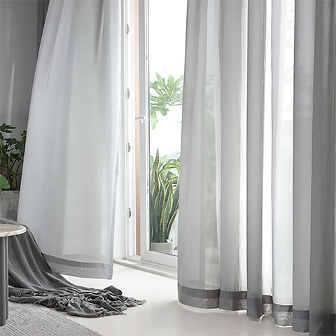 Soft Breeze Grey Voile Curtain 1