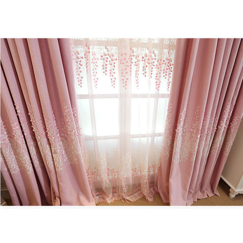 Sweet Heart Pink Embroidered Curtain 3