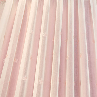 Touch Of Grace Pink Lined Voile Curtain With Embroidered Flowers 3