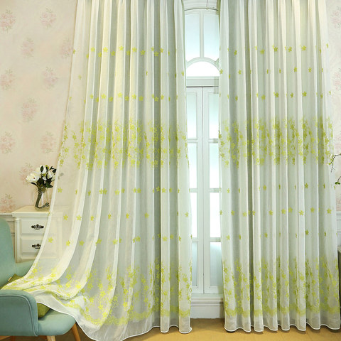 Touch Of Grace Green Lined Voile Curtain With Embroidered Flowers 1