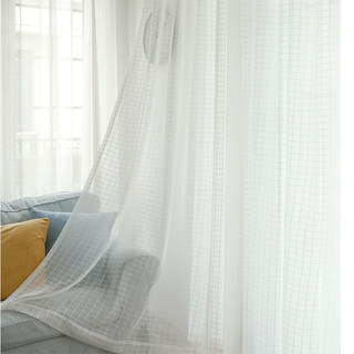 In Grid Windowpane Check White Sheer Voile Curtain 6