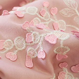 Sweet Heart Pink Embroidered Curtain 1