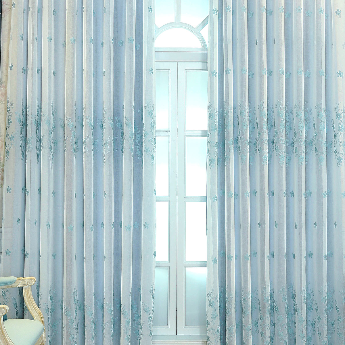 blue lined voile curtains