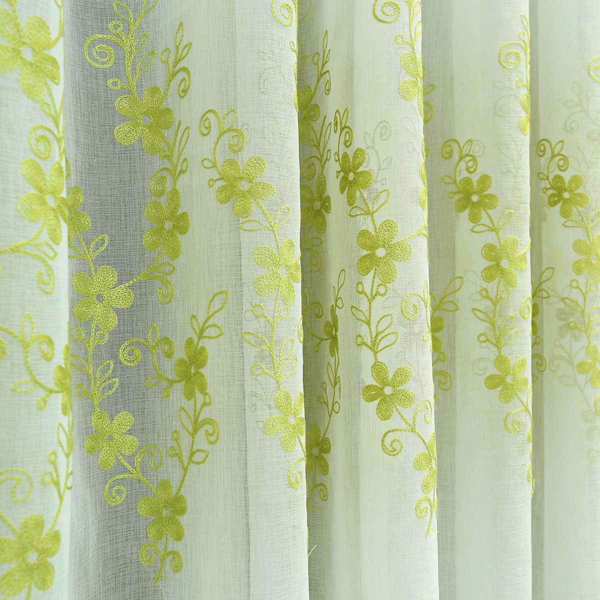 Green lined voile curtains