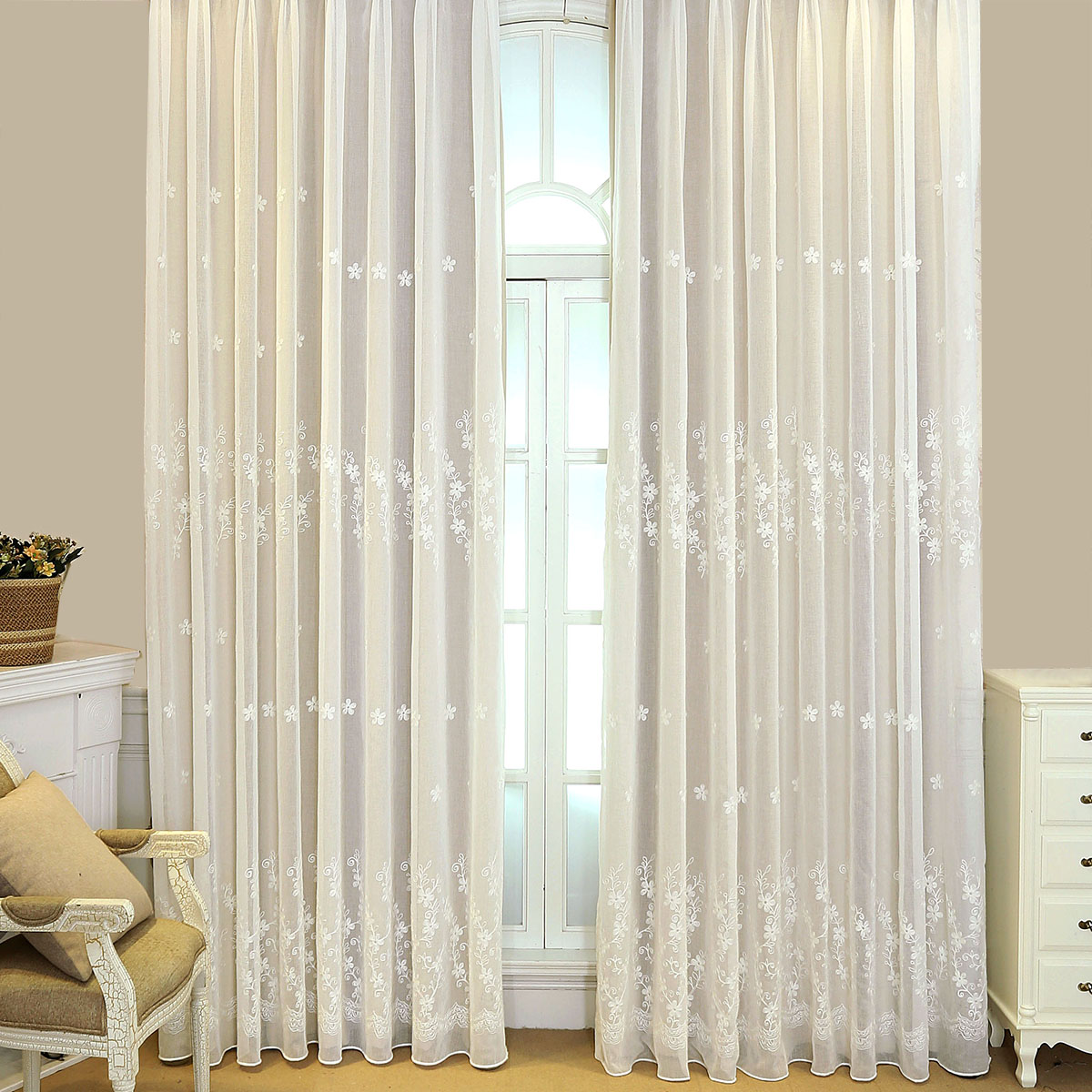 cream lined voile curtains