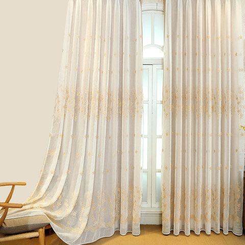Touch Of Grace Cream Lined Voile Curtain With Beige Embroidered Flowers 1