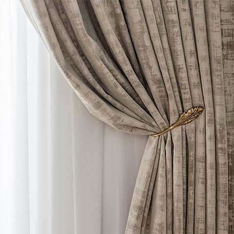 Premium Light Brown Mocha Velvet Curtain 1