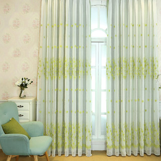 Touch Of Grace Green Lined Voile Curtain With Embroidered Flowers 2
