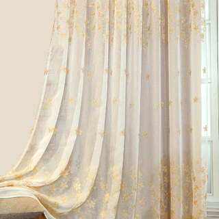 Touch Of Grace Cream Lined Voile Curtain With Beige Embroidered Flowers 4