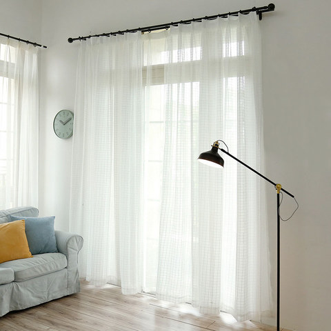 In Grid Windowpane Check White Sheer Voile Curtain 3