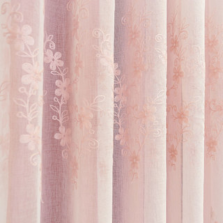 Touch Of Grace Pink Lined Voile Curtain With Embroidered Flowers 4
