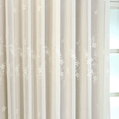 Lined Voile Curtain Touch Of Grace White Embroidered Sheer Curtain 5
