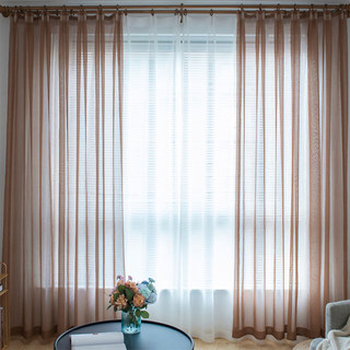 Luxe Coffee Sheer Voile Curtain 2