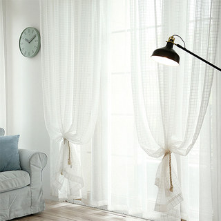 In Grid Windowpane Check White Sheer Voile Curtain 4