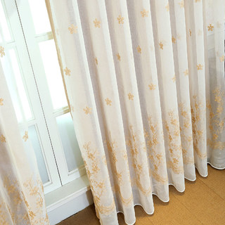 Touch Of Grace Cream Lined Voile Curtain With Beige Embroidered Flowers 3