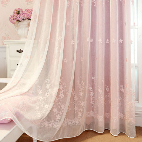 Touch Of Grace Pink Lined Voile Curtain With Embroidered Flowers 6