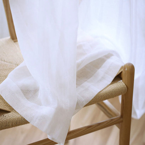 Sheer Curtain Another Fine Mesh White Shimmery Striped Voile Curtain 3