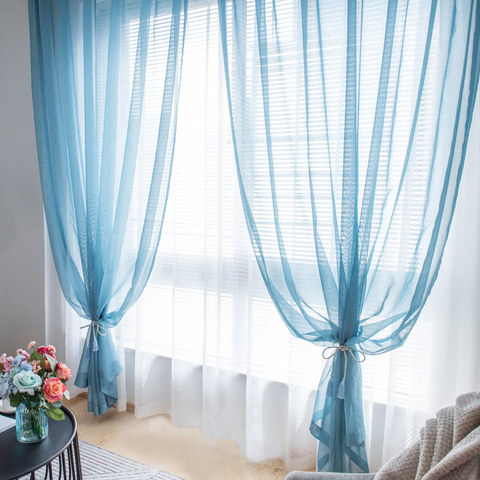 Sheer Curtain Luxe Teal Voile Curtain 1