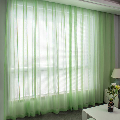 Luxe Green Sheer Voile Curtain 2