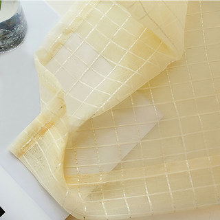 In Grid Windowpane Check Light Yellow Gold Shimmery Voile Curtain 1