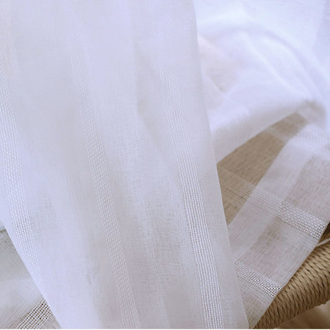 Sheer Curtain Another Fine Mesh White Shimmery Striped Voile Curtain 1