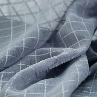 In Grid Windowpane Check Grey Sheer Voile Curtain 8